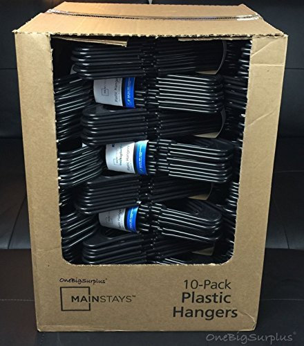 Lot 100 Mainstays Plastic Tubular Slotted Black Adult Clothing Clothes Hangers from Mainstay