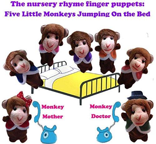 HLDIY Babies Five Monkeys Plush Full Body Hand Finger Puppet Toys