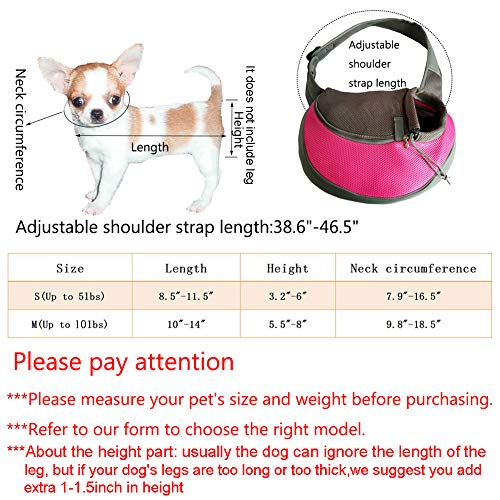 YUDODO Reflective Pet Dog Sling Carrier Breathable Mesh Travel Safe Sling Bag Carrier for Dogs Cats (M up to 10lbs Black)