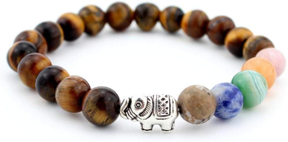 Pulsera Joyas Pulsera Ojo de Tigre Buena Suerte Elefante de Plata Antiguo Pulsera de Piedra Yoga Meditación Pulseras de Loto Joyería Regalo de Fiesta