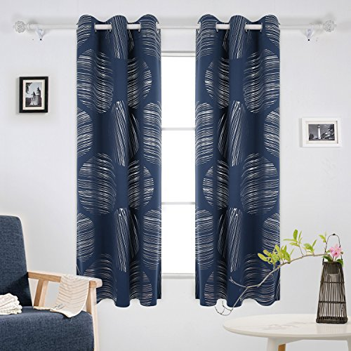 deconovo geometric circle pattern curtains blackout curtains grommet panels light blocking curtains shades curtains for living room 42 x 63 inch navy blue - Blue Curtains For Living Room