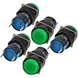 5 Pcs Green Round Cap 2 Pins Fault Signal Lamp Indicator Light DC 12V