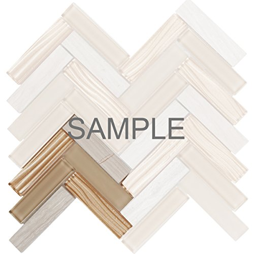 Champagne Gold Tile Flooring (Modket TDH110MO-S Sample White Oak Gray Marble Stone Mosaic Tile, Champagne Wave Gold Spray Glass Blended Herringbone Pattern Backsplash)