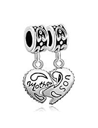 Sterling Silver Heart Mother & Son Family Dangle Charm Bead Fits Pandora Charms Bracelet