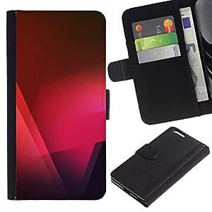 KingStore / Leather Etui en cuir / Apple Iphone 6 PLUS 5.5 / Noir Rose Rouge Polygone