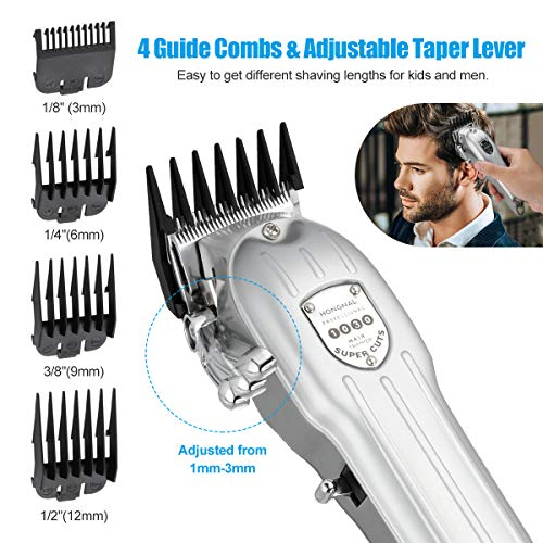 Professional Hair Clipper for Men, HONGNAL 3600mAh Cordless Hair Clippers Stainless Steel Housing,6000rpm Powerful Electric Cutting Trimmer Set Heavy-Duty with Attachment Guards,Sharp Blade