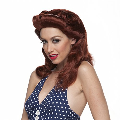 [Characters 40s Pinup Girl Synthetic Wig Auburn] (1940s Pin Up Girl)