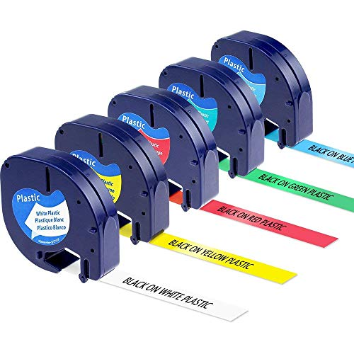 5X Replacement Dymo Plastic Letratag Label Tape (Black on White/Yellow/Red/Blue/Green), 12 mm x 4m, for LT100H, LT100T, QX50, XR, XM, 2000