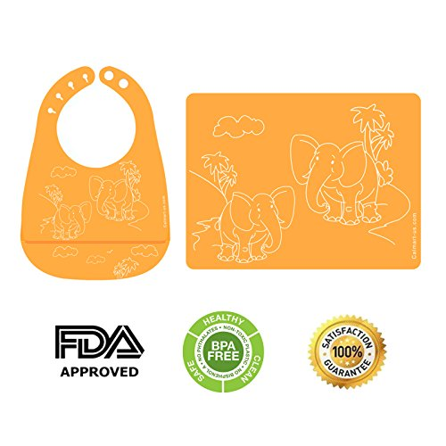 Easy Clean Silicone Bib & Mat Package for Baby Feeding Easily Wipes Clean! Comfortable Soft Baby Bibs Keep Stains Off! Spend Less Time Cleaning after Meals with Babies or Toddlers! (Orange)