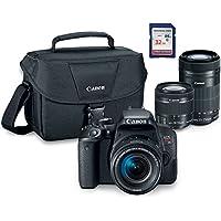 Canon EOS Rebel T7i Digital SLR Camera Kit with EF-S 18-55mm STM + EF-S 55+250mm IS STM + ES100 Case + 32GB Class 10 SD Card - International Version