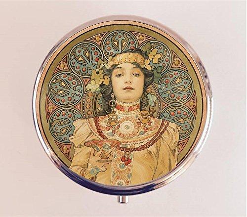 Alphonse Mucha Pill Box Pillbox Case Holder Trinket Box Art Nouveau Edwardian Boho Goddess