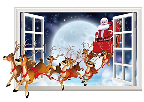 Homecor Christmas Wall Decals Stickers,3D Style Santa Claus With Gifts Wall Decor Removable DIY Wall Decal Sticker for kids Rooms Home Decoration (Wall Christmas Decals)