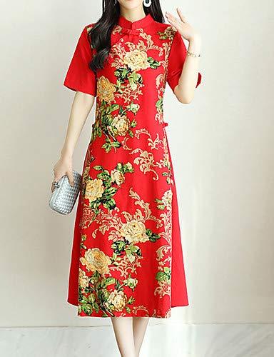 Stand Abito con stampa floreale Chinoiserie da allentato Red donna YFLTZ sciolto USwqYCS