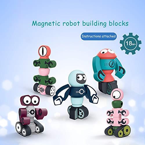 clacce Magnetische Bausteine Spielzeuge, 1set Magnetische Roboter Bauklötze Set, Pädagogische Spielzeug Geschenk für Kinder im Alter für Jungen Mädchen Kleinkinder Interessantes Spielzeug
