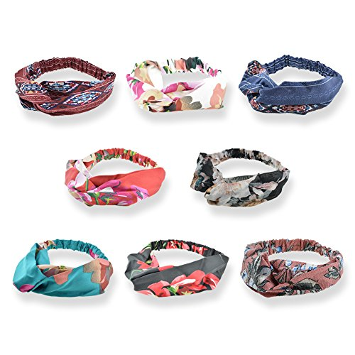 Women's Headbands Headwraps Hair Bands Bows Accessories (Style H), Criss Cross Silk Style E, 8 Pack, One Size (Printed Band Fabric)