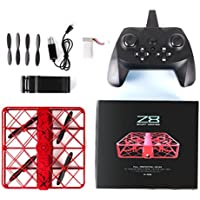 Z8 RC Mini Drone 0.3MP Camera Wifi 2.4G 4 Channel 6Axis UFO Quadcopter Pocket Drone Built-in Battery, One Key Return, 3D Flip, Headless Mode, Altitude Hold, LED Flash Night Light (Red)