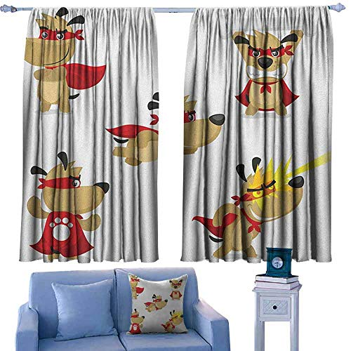 - Dog Customized Chid Curtains Superhero Puppy with Paw Costume and Mystic Powers Laser Vision Supreme Talents,2 Panels Bedroom Kitchen Curtains,W55 x L45 Inch