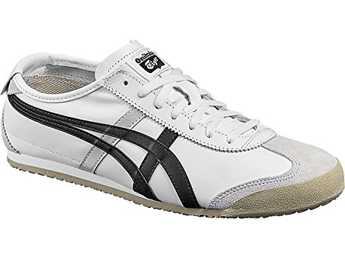 Onitsuka Tiger - Unisex-Adult Mexico 66 Sneakers, Size: 6 D(M) US, Color: White/Black (Tiger Leather Sneakers)