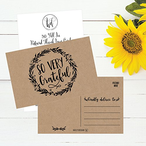 50 4x6 Rustic Kraft Thank You Postcards Bulk, Cute Matte Floral Thank You Note Card Stationery Set For Wedding, Bridesmaid, Bridal or Baby Shower, Teachers, Appreciation, Religious, Business, Holidays Photo #3