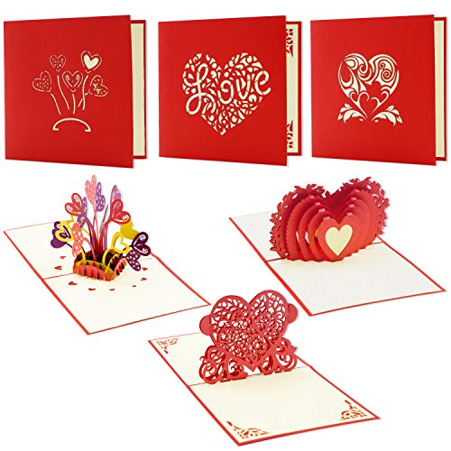 Best Paper Greetings 3-Pack 3D Romantic Love Heart Themed Popup Greeting Cards for Valentine's Day and Anniversaries - Includes Envelopes, 4.75 x 4.75 - Card Heart Out Pop