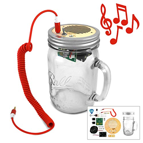 - DIY Kit - Portable Speaker & Guitar Amplifier (Red Cord & Mason Jar included) | Beginners soldering project for kids, teens, adults | Learn about electronics, engineering, STEM education, robotics