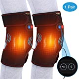 Doact Heat Knee Pad with Motor Massage, Heat Knee Wrap Brace for Hot Cold Threapy, Adjustable Knee Joint Warmer for Arthritis Cramps Stiff Muscles Pain Relief, Fits Men Women 1 Pair