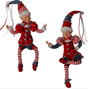 Raz Imports 18 Christmas Peppermint Elves – Set of 2