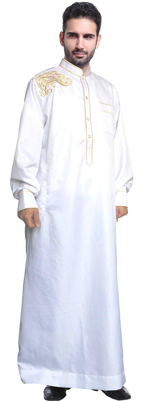 Ababalaya Men's Long Sleeve Mock Neck Embroidered Muslim Thobes Dishdasha Easter Wear, White, XXXL