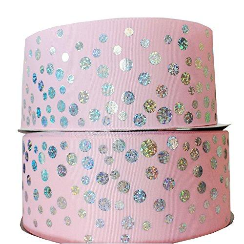 (3 Inch Printed Dots Grosgrain Fabric Riboon Hologram Silver Ribbons 10 Yards (pink))