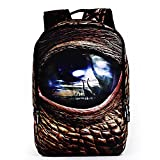 ETIAL Unisex Poly Water Resistant School Travel Backpack 14Inch Laptop Daypack Dinosaur's eye For Sale