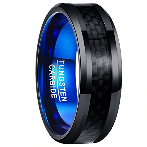 Vakki Polished Finish Beveled Edge Black Carbon Fiber Blue Tungsten Wedding Engagement Band ring Size 12 - Carbon Fiber Mens Wedding Bands