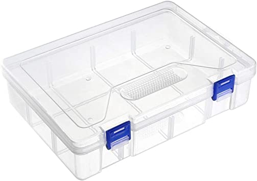 uxcell/® Component Storage Box PP Fixed 6 Grids Electronic Component Containers Tool Boxes Clear White 120x80x23mm