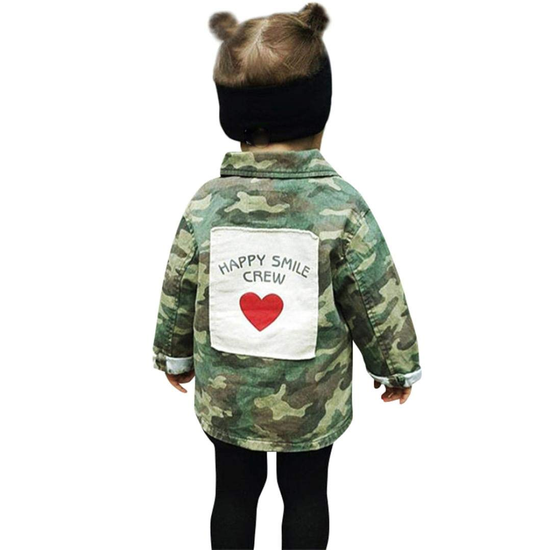 Kid Baby Girls Boy Camouflage Letter Denim Jacket, Children's Warm Botton Coat Clothes Animal Cardigan Cloak