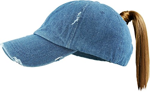 (H-216-S73 Distressed Trucker Dad Hat Womens Messy Bun Baseball Pony Cap - Denim )
