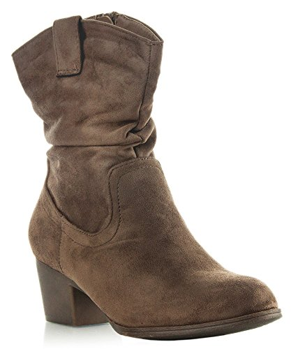 - RF ROOM OF FASHION Women Fashion Vegan Suede Comfy Almond Toe Block Heel Fleece Lining Slouchy Side Zipper Ankle Booties Light Taupe (7)