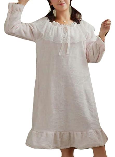 Papijam Womens Comfort Lace Sleepwear Fleece Flannel Long Nightgown Light  Blue One-Size at Amazon Women s Clothing store  3b6091a8b