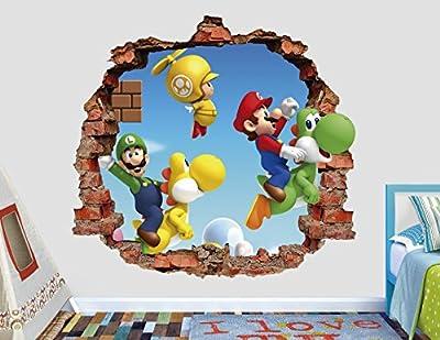 Super Mario Bros Toad Wall Decal Smashed 3D Sticker Vinyl Decor Mural Art Games - Broken Wall - 3D Designs - AL24