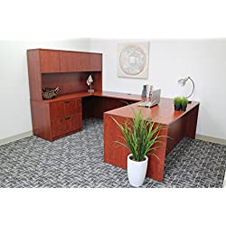 """Boss Office Products Holland 71"""" Executive U-Shape Desk with Pedestal File Storage and Hutch, Cherry"""