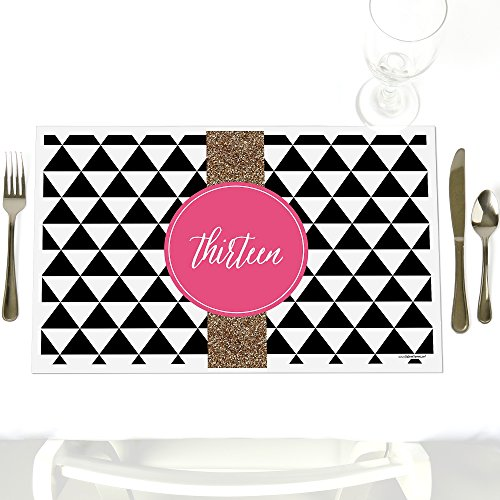 Chic 13th Birthday - Pink, Black and Gold - Party Table Decorations - Birthday Party Placemats - Set of (13th Birthday Party Themes)