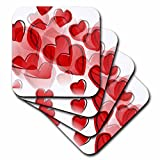 3dRose cst_50606_3 Love Red Hearts Lovable Art Valentines Day Ceramic Tile Coasters, Set of 4