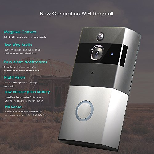 VOLIBEL Wireless Video Wi-Fi Doorbell With 8G SD Card Storage HD Smart Security Camera Real-Time Video and Two-Way Talk Infrared Night Vision App Control for iPhone iOS and Android by VOLIBEL