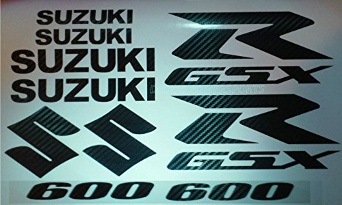 - CARBON FIBER GSXR 600 10 PIECE DECAL SET - XXL Decal Sticker Fairing , tank ( non Heat resistant )