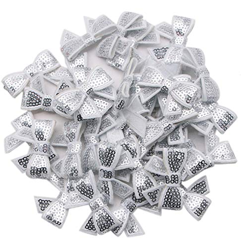 JETEHO 36Pcs 1.8'' x 1.2'' Inches Mini Shiny Silver Bows - Mini Sequin Bows for DIY Craft Wedding Card Scrapbook Party Decoration