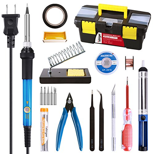 - Soldering Iron Kit Electronics, 20-in-1, 60W Adjustable Temperature Soldering Iron, 5pcs Soldering Iron Tips, Solder, Rosin, Solder Wick, Stand and Other Soldering Kits in Portable Toolbox