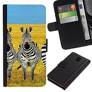 KingStore / Leather Etui en cuir / Samsung Galaxy Note 3 III / Savannah África Amarillo Negro Blanco