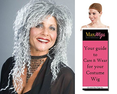 Costume Grandma The Family Addams (Bundle 3 items: Grandma Wig Addams Family Witch Kinky Women's Old Lady Mixed Grey Enigma Wigs, Wig Cap, MaxWigs Costume Wig Care)