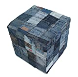 Fashion Denim Ottoman Cube Foot Rest Stool Seat Bench 16x16x16, Contemporary Mordern Home Decoration for House, Office, Dorm and Apartment-Denim Pockets Review