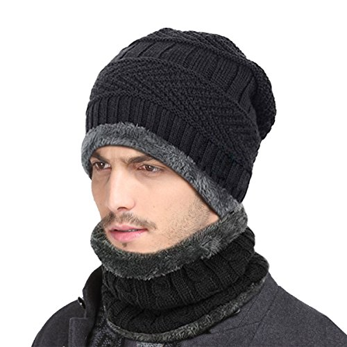 ZICA Unisex Winter Beanie Hat Scarf Set Warm Knit Hat Thick Knit Cap for Men Women Soft Wool Lining Dog Hat Set
