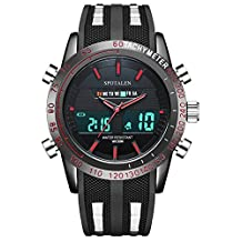 Men's Analog Digital Sport Watches, Luminous Military Multifunction Wrist Watch in Red Markers and Hands