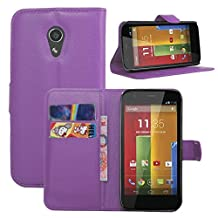 Moto G2 Case, Fettion Premium PU Leather Wallet Flip Phone Protective Case Cover with Card Slots for Motorola Moto G (2nd generation) Smartphone (Purple)